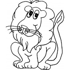 Cartoon Lion Cardboard Coloring Cutout