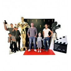 Hollywood Red Carpet Scene (Includes: Red Carpet Step and Repeat Backdrop DW, Roll out Red Carpet, Hollywood Camera, Paparazzi, Trophy and Film Clapper)